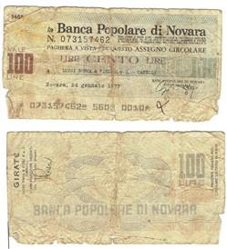 Italie-100 Lires Banca Popolare di Novar...