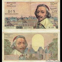 """10 nouveaux francs type 1959 """"Richelieu"""""""