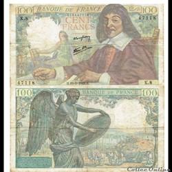 """100 francs type 1942 """"Descartes"""""""