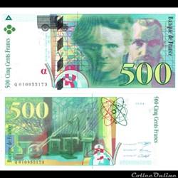 """500 francs type 1993 """"Pierre et Marie Cu..."""