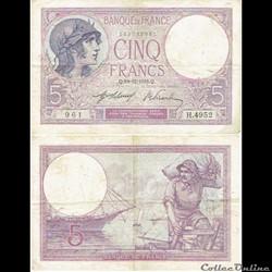 """5 francs type 1917 """"Femme casquée"""""""