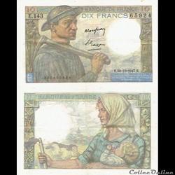 "10 francs type 1941 ""Mineur"""