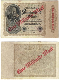 1 Milliard Mark / 1000 Mark type 1922