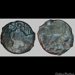 Bellovaques - Bronze au personnage agenouillé aux haltères