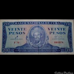 20 pesos Cubain 1961. Série F 69 et F 70, Vrais et faux billets.