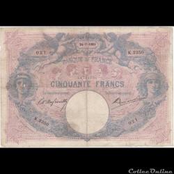 HistoireÀ partir du modèle du 50 francs bleu émis en 1884, les autorités bancaires travaillent sur une impression bicolore, préfiguration des billets polychromes : au bleu s'ajoute une trame et...
