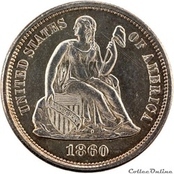 Dimes Seated Lib. (1837-1891) 10 Cents U...