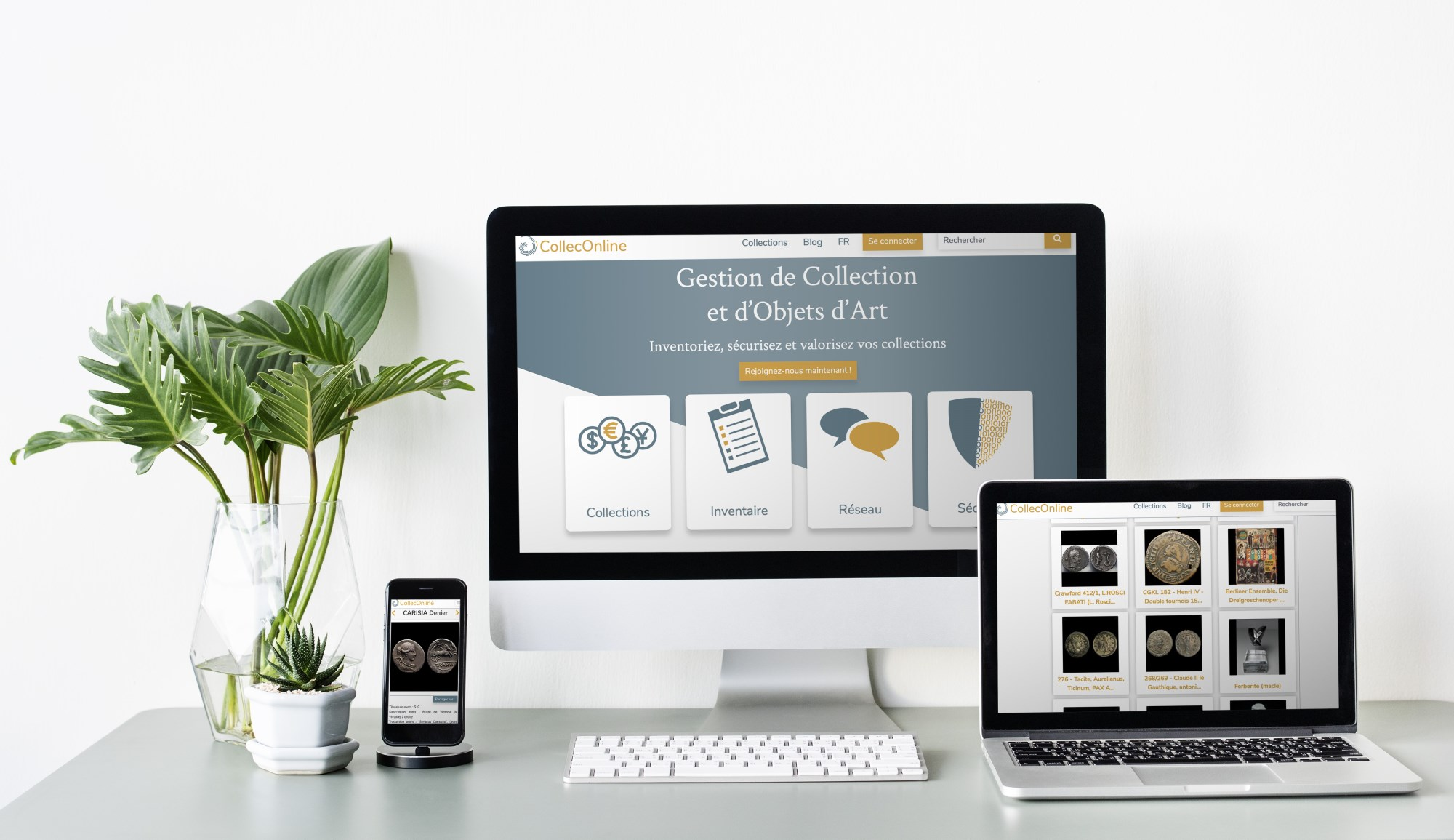 CollecOnline, la solution de gestion de collection, fait peau neuve ! Compatibilite-smartphone-tablette-ordinateur-bureau-fond-blanc