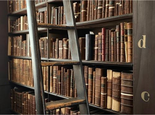 Biblioteca que contiene libros de colección antiguos.
