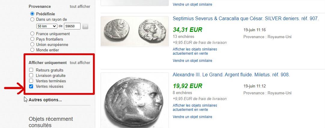 Estimation de monnaies de collection grâce aux filtres des ventes réussies sur Ebay.