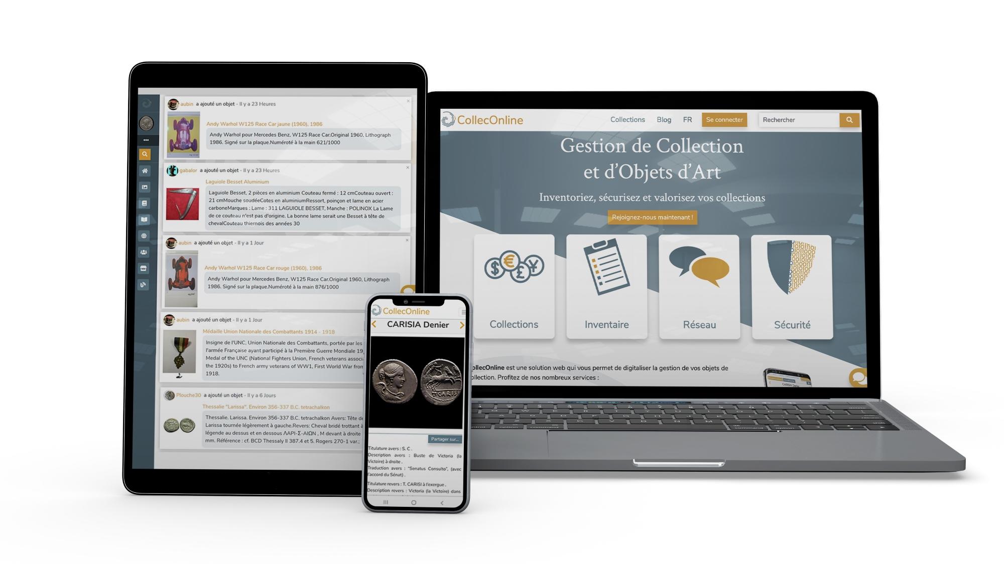 CollecOnline est une solution de gestion de collection compatible téléphone, tablette et ordinateur de bureau.